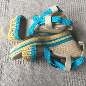 Cato Turquoise Striped Straps Straw Wedge Sandals